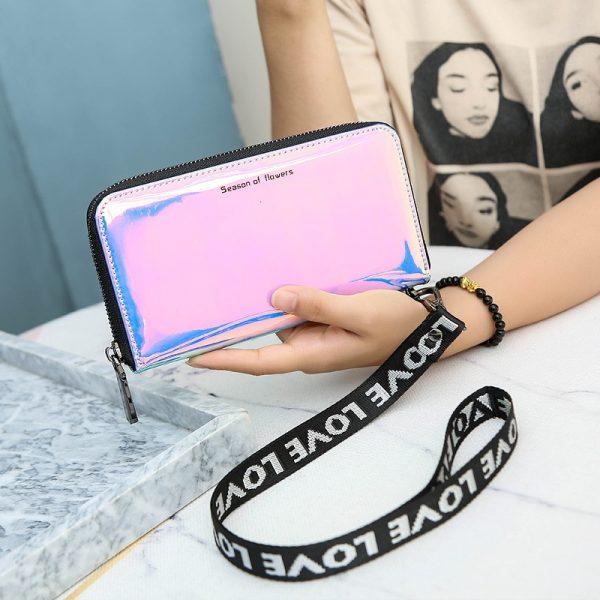 New Lanyard Laser Holographic Wallet Women Long Purse Female Clutch Bag Women Wallets Purses Portfel Zip