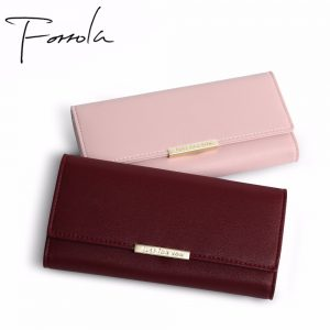 New Women Fashion Leather Hasp Tri Folds Wallet Portable Multifunction Long Change Purse Hot Female Coin