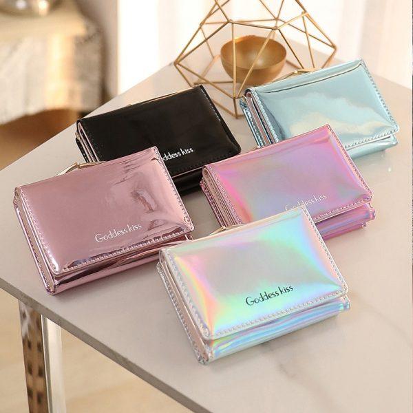New Women Laser Holographic Wallets Short Cute Purse Small Wallet Women Folding Wallet Card Holder Coin