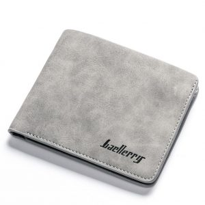 PinShang Men Retro Frosted PU Wallet Two Folding Male Purse Credit Card Holder Solid Color Short