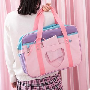 Preppy Style Pink Travel Shoulder School Bags For Women Girls Canvas Large Capacity Casual Luggage Organizer