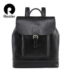 Realer vintage backpack female leather women s backpack large capacity school bag for girls leisure shoulder