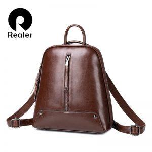 Realer women backpack school bags for teenager girls leather vintage school backpack large capacity mochila shoulder