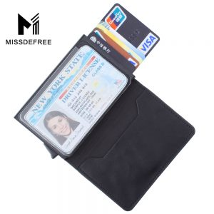 Slim Wallet for Men Automatic Pop up Credit Card Holder With ID Window Drivers License MetroPass