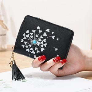 Small Women Wallet  Heart Shaped Tassel Wallets Pu Leather Women Purse Ladies Zipper Female Purses
