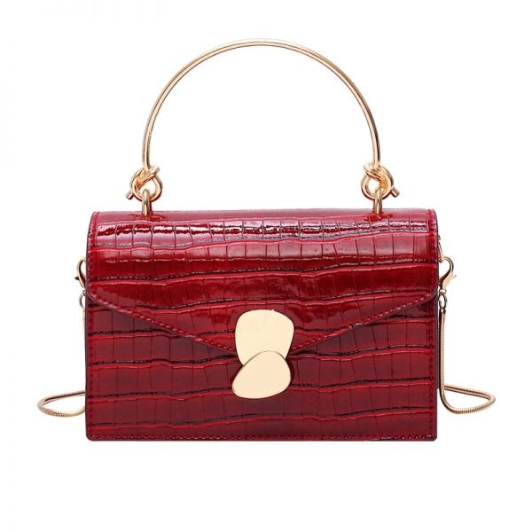 Stone pattern PU Leather Crossbody Bags For Women  Mini Shoulder Messenger Bag With Metal Handle
