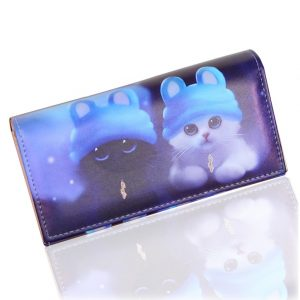 TONUOX Fashion Women s Wallets Soft PU Leather Cats Animal Pattern Casual Lady Coin Purse Handbags