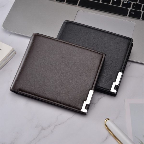 Top  New ultra thin Casual Leather Wallet Men Short Sequined Purse Man Wallets Male Small