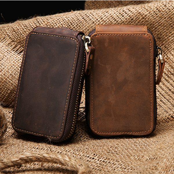 Unisex Crazy Horse Cowhide Car Key Bag ID Card Holder Genuine Leather Keyring Covers Case Housekeeper