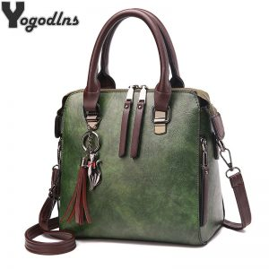 Vintage PU Leather Ladies HandBags Women Messenger Bags TotesTassel Designer Crossbody Shoulder Bag Boston Hand Bags