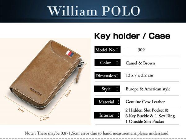 Vintage Zipper Key Holder Genuine Leather Men Car key Organizer With keychain porte cle Fashion Leather
