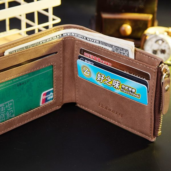 Vitage Zipper Men Wallets Leather Wallet Money Bag Credit Card Holders Dollar Bill Wallet Clutch Purse