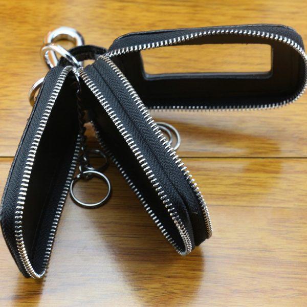 WESTCREEK Brand Genuine Leather Men Double Zipper Car Key Wallets Women Minimalist Key Holder Fashion Housekeeper