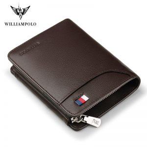 WILLIAMPOLO Famous Brand Fashion  Bifold Short Wallet Genuine Leather Luxury Wallet Money Bag PL