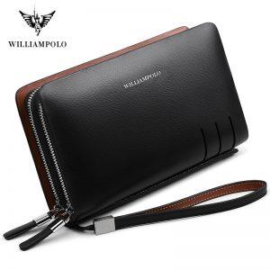 WILLIAMPOLO Fashion Business Design High Capacity Organizer Wallet Men Clutch Wallet Genuine Leather Wallet PL