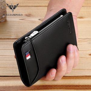 WILLIAMPOLO Genuine Leather Men Wallet With Card Holder Men Short Wallet Purse Zipper Wallets Casual Standard