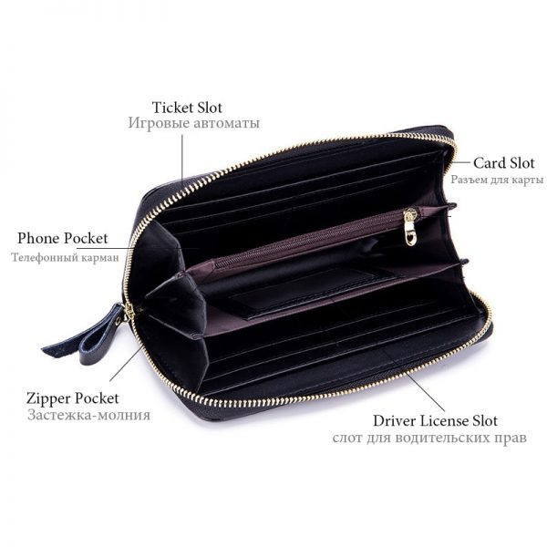 Wallet Female Coin Purses Women s Handbag Genuine Leather Handy Bags Clutch RFid Card Holder Lxury