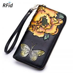 Wallet Female Coin Purses Women s Handbag Genuine Leather Handy Bags Clutch RFid Card Holder Lxury