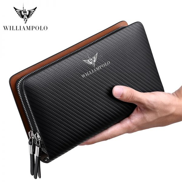 WilliamPOLO  Fashion New Arrival  Cow Leather Business Solid Zipper Long Mens Clutch Wallet Handbag