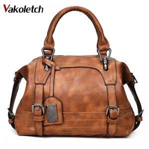 Women Bag  Vintage Shoulder Bag Women Handbags Soft Leather Crossbody Bags For Women Ladies Boston