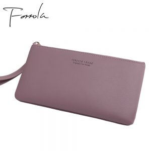 Women Fashion Leather Wrist Strap Wallet Portable Multifunction Long Change Purse Hot Female Phone Coin Zipper