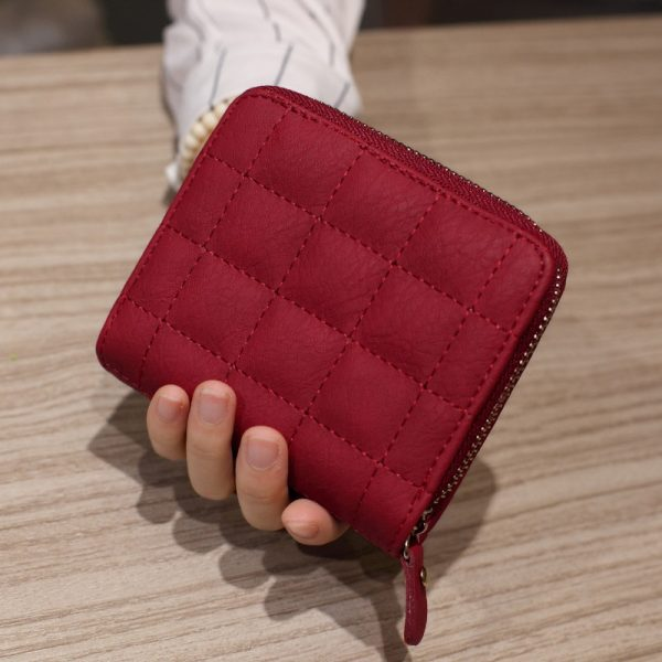 Women Short Wallets PU Leather Female Plaid Purses Plaid Card Holder Wallet Fashion Woman Small Zipper