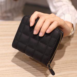 Women Short Wallets PU Leather Female Plaid Purses Plaid Card Holder Wallet Fashion Woman Small Zipper