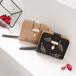 Women Wallet Fashion Purse Female Short Wallets Hollow Leave Pouch Handbag For Women Coin PU Leather