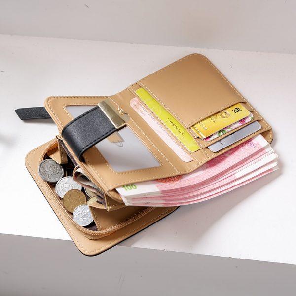 Women Wallet Fashion Purse Female Short Wallets Hollow Leave Pouch Handbag For Women Coin PU Leather