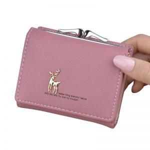 Women Wallet Leather Short Cute Deer Wallet Folding Wallets Clutch Pu Card Holder Ladies Purses Retro