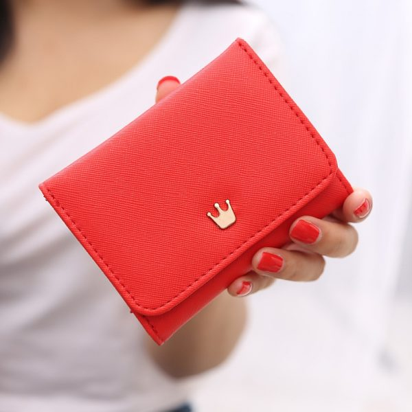 Women Wallet Short Leather Crown Small Purses for Women Mini Candy Color Coin Purse Luxury Brand