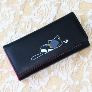 Women Wallets Lady Purses Handbags Coin Purse Long Clutch Moneybags Lovely Cat Wallet ID Cards Holder