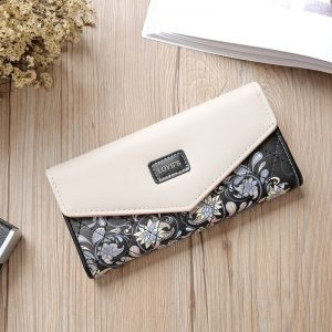 Wristlet Fashion Envelope Women Wallet Hit Color Fold Flowers Printing Colors PU Leather Wallet Long Ladies