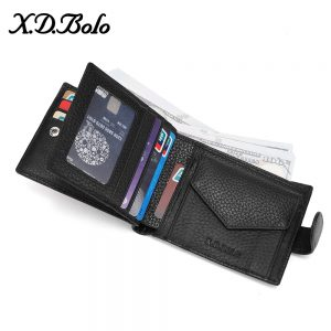 X D BOLO  Male Leather Wallet Men s Wallets Card Holder Genuine Leather Purse for