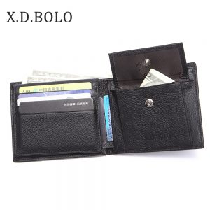 X D BOLO  New Men Wallets Genuine Leather Purse Mens Money Bag Card Holder Wallet