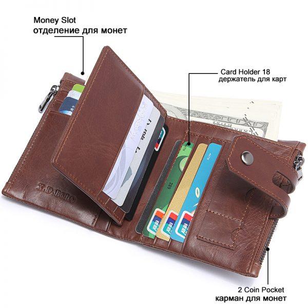 X D BOLO Genuine Leather Men Wallet Fashion Coin Purse Card Holder Wallet Men Portomonee Male