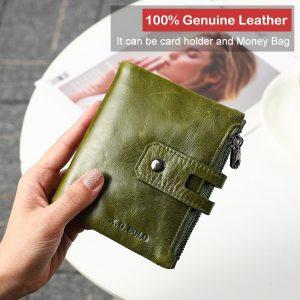 X D BOLO Wallet Women Genuine Leather Card Holder Wallets Female Zipper Clutch Ladies Purses with