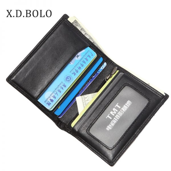 XDBOLO European Best Selling Double ID Window Card Holder Slim Minimalist Front Pocket Genuine Leather Wallets