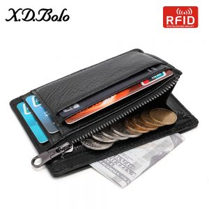XDBOLO Wallet Male Genuine leather Wallets RFID men card wallet mini card holder with coin pocket