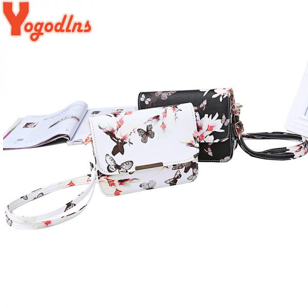 Yogodlns Luxury Women Bags Design Small Satchel Women bag Flower Butterfly Printed PU Leather Shoulder Bag