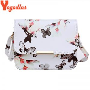 Yogodlns Luxury Women Bags Design Small Satchel Women bag Flower Butterfly Printed PU Leather Shoulder Bag