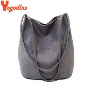 Yogodlns Women Leather Handbags Black Bucket Shoulder Bags Ladies Crossbody Bags Large Capacity Ladies Shopping Bag