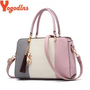 Yogodlns brand ladies tassel patchwork totes casual fashion flap shopping party work purse women crossbody shoulder