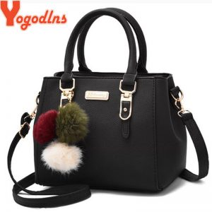 Yogodlns women beading pendant handbag ladies embossed shoulder bag ladies Messenger bag hairball bags high quality