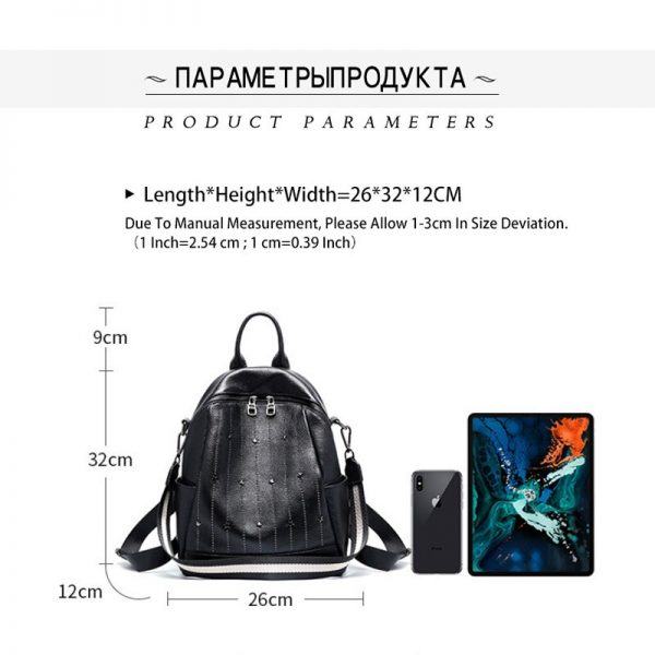 Zency  Genuine Leather Daily Casual Backpack For Women Rivets Preppy Style Schoolbag High Quality Black