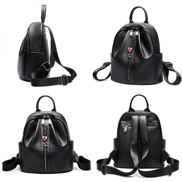 Zency  Genuine Leather Fashion Women Backpack Classic Black Daily Casual Travel Bag Large Capacity Knapsack