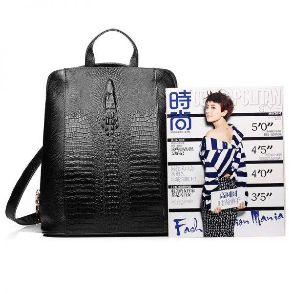 Zency  Genuine Leather Knapsack Ladies Crocodile Pattern Women Backpack Girl Notebook Schoolbags Travel Bags High