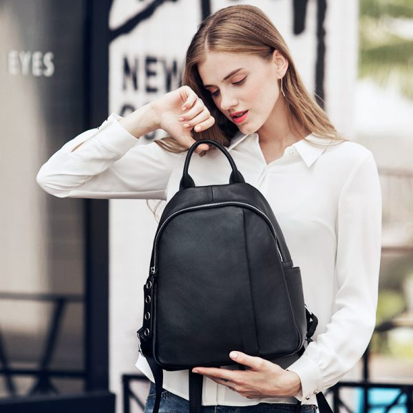 Zency Anti theft Design Women Backpack  Genuine Leather Classic Black School Bag For Girls Daily