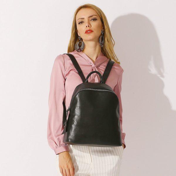 Zency Cowhide  Genuine Leather Black Women Backpack Vintage Travel Bags Notebook Schoolbag For Girls Daily