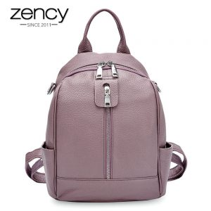 Zency Fashion Women Backpack  Cowhide Genuine Leather Black Travel Bags Girl s Schoolbag Notebook High